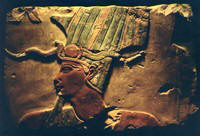 Image of Egyptian Bass Relief of ancient god Luxor Museum photograph by Colette Dowell