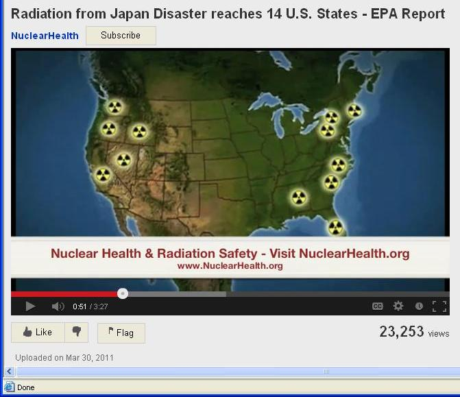 Map of radiation plume from Fukushima plume hitting United States in March of 2011
